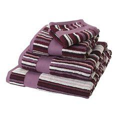 Plum narrow striped towels - Plain towels - Towels - Home & furniture -