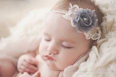 Savannah - Shabby Rosette Vintage Inspired - Lace Pearl - Cream Gray Tan - Girls Newborns Baby Infant Adults - Photo Prop