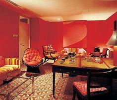 David Hicks design- retro interior design- 60s design- red and yellow- geometric patterned flooring