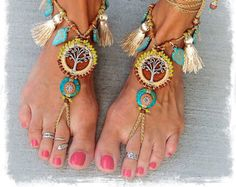 Beaded Yggdrasil TREE of life BAREFOOT SANDALS Boho Wedding Tassel Turquoise Luxe Leather foot jewelry crochet sandal Tree Hugger GPyoga