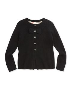 Z1A4T Burberry Cashmere Cardigan with Bow, Black, 4Y-14Y