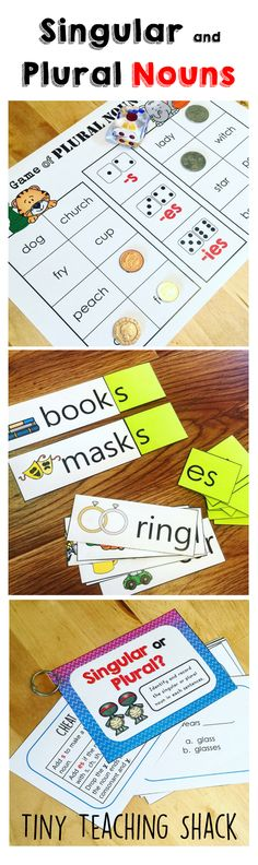 This packet has 4 literacy center activities for students to focus on singular and plural nouns.
