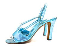 Metallic Turquoise Blue Strappy Disco High Heel Shoes circa 1970s by Halston - Dorothea's Closet Vintage