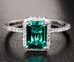 2.56ct Emerald Engagement Ring Wedding Ring Diamond Halo in Solid 14K White Gold - Rose Gold & Yellow Gold available