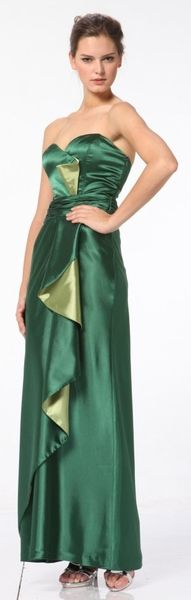 Plus Size Green Bridesmaid Dress Full Length Strapless Sweetheart Neck Bodice Ruffle Front