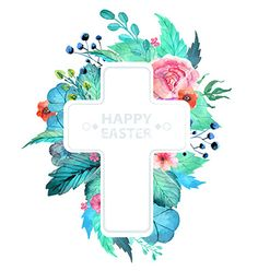 Easter watercolor natural with cross sticker vector 4033026 - by Elmiko on VectorStock®
