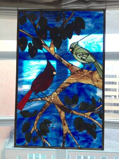 pattern by Joanne Margonis Ruch Approx. inchescardinals leaves and berries Artist Gallery, Cardinals, Stained Glass, Berries, Leaves, 3d, Pattern, Painting, Paintings