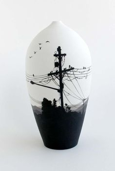 Niharika Hukku Dark Sky- Acquired by the Gold Coast Gallery Wheel thrown porcelain, handpainted in underglazes, 2014