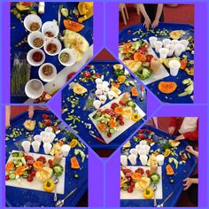 Where do seeds come from investigation.... This started out as a tray with a whole butternut squash, tomatoes, peppers, cucumber, melon and pomegranate.... The children then cut each thing open to discover and collect the seeds from inside them....(the seeds have now been put to dry so they can be planted) once the seed investigation was complete the children had great fun just cutting!!