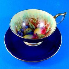 Cobalt D.Jones Fruit Painted Aynsley Tea Cup and Saucer Set | Pottery & Glass, Pottery & China, China & Dinnerware | eBay!