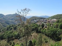 This tribal village clings to a hillside on the Shan Plateau near Kalaw, Myanmar (Burma). River, Mountains, Nature, Outdoor, Outdoors, Naturaleza, Rivers, Outdoor Games, Nature Illustration