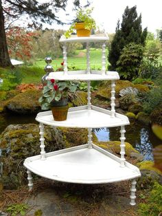 vintage country gardens | Vintage 1900 Country Cottage Garden Porch Plant Stand Etagere Antique ...