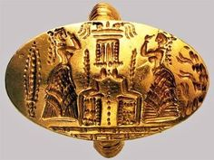 Minoan ring in gold, showing worshippers 500×377 пикс