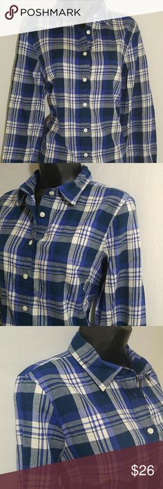 J CREW FLANNEL Shirt Size M Lovely medium weight J CREW flannel shirt in blue, white, and purple.  This flannel shirt is a size Medium.  This J CREW Shirt is in excellent condition. J Crew Tops Button Down Shirts