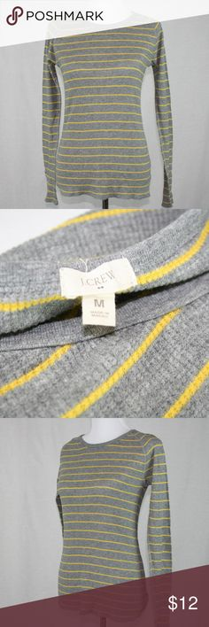 J. Crew Factory Flip-Stripe Tee Long sleeve, gray with yellow/gold stripe. Will keep you warm!! J. Crew Factory Tops