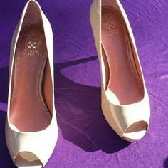 "Vince Camuto peep-toe pumps Beige/nude open-toe pumps. 3.5"" from back. 2"" of stiletto. Brand new. Never worn. Not in original box, but will come with a custom-made shoe cover. Firm price Vince Camuto Shoes Heels"