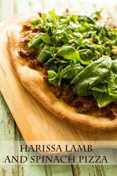 Harissa Lamb and Spinach Pizza