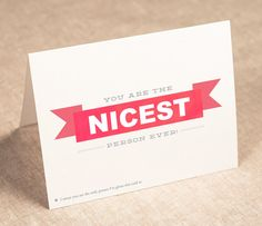 thank you card  you are the nicest person by PinwheelPrintShop, $3.50