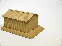 Toy garage of corrugated cardboard