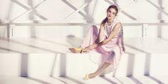 Etam Weekend spring summer 2015 Natalia Vodianova and Mark Segal light pink plisse skirt yellow high heels embroidered top