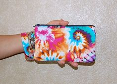 TIE DYE - Wristlet Purse with Removable Wristlet Strap and Interior Pocket