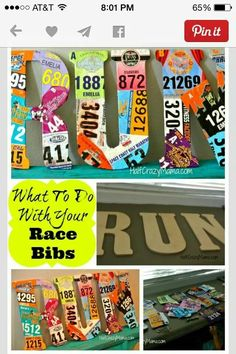 "fun creative way to display race bibs. 18"" letter- 6-8 bibs per letter."