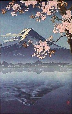 Lake Kawaguchi, by Tsuchiya Koitsu – Japanese art – Malerei Aesthetic Japan, Japanese Aesthetic, Aesthetic Art, Aesthetic Anime, Aesthetic Drawing, Japanese Art Prints, Japanese Artwork, Japanese Painting, Chinese Painting