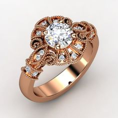 Round Diamond 14K Rose Gold Ring with Diamond | Chantilly Ring | Gemvara