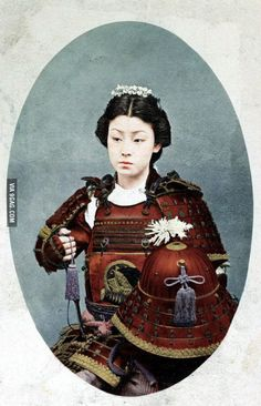 Colorized photograph of #Nakano Takeko (1847-1868)#, female samurai who fought and died in the #Battle of Aizu (1868)#