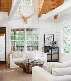 white, modern rustic living room