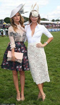 Stylish Millie Mackintosh teams plunging white shirt with fascinator - Celebrity Fashion Trends