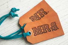 Reserved for Taylor - Leather Luggage Tags - Lg Western Font - your choice of stain, lace and grommet color - Or choose His/His, Hers/Hers on Etsy, $28.00