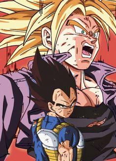 Trunks & Vegeta By: catdestroyer Dragon Ball Z, Dragon Ball Image, Dragon Z, Akira, Anime Manga, Anime Art, Vegeta And Trunks, Manga Covers, Z Arts