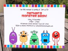 Free Printable Monster Birthday Invitations | send your monster bash invitations out today this 5x7 inch invitation ...
