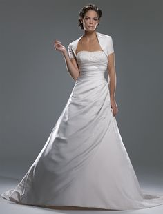 Beaded Strapless Satin Wedding Gown with Shrug - for a Fall Wedding!