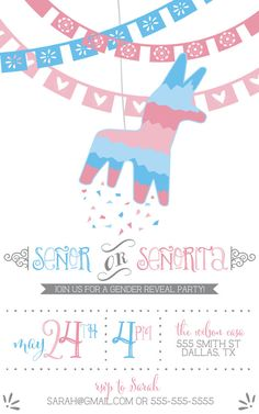 BABY SHOWER~Fiesta Piñata Gender Reveal Party Invitation  by KJPaperieCo