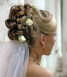 bridal updos 2013 with veil under hair | wedding-hair-with-veil-16 - My New Hair