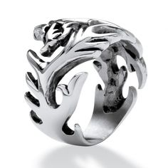 Men's Dragon Cut-Out Ring in Stainless Steel at Viomart.com