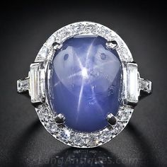 Large Art Deco Star Sapphire and Platinum Diamond Ring - 30-1-5000 - Lang Antiques