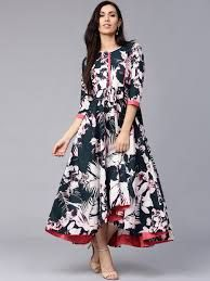 0954204e76 Buy Rain   Rainbow Women Navy Blue Printed Maxi Dress - Dresses for Women  1996368