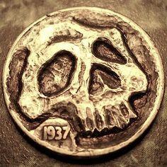 Eric Truitt - Resting Peacefully Jekyll And Mr Hyde, Hobo Nickel, Coin Art, Punk Goth, Skull Art, Skeletons, Edc, Skulls, Empty