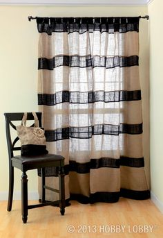 The burlap look is very easy going. The burlap would look great as a thick accent band on the bottom or top of a pair of white whispy curtains. My Home Design, House Design, Burlap Curtains, Striped Curtains, Black Curtains, Decoration Inspiration, Decor Ideas, Home Projects, Diy Home Decor