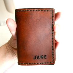 Tri-Fold Mens Leather Wallet. Personalized Mens wallet with monogram initials