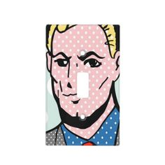 Leading Man Retro Comic Book Light Switch Cover--This is a great way to spruce up a room's decor! It's particularly fun in dorm rooms and apartments where decorating options are limited. #Decor #Decorating #Dorm #Apartments #Comics #PopArt #Zazzle