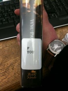 """The library is full of surprises. A spine label, standing for Fiction by an author named """"Young."""""""