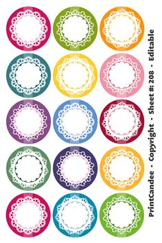 1 Inch Circles Editable PDF 4x6 Delicate Lace by printcandee
