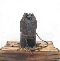 Vintage Fringed Chocolate Brown Leather Egyptian Bucket Shoulder Bag