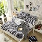 Elegant Black Color Stripe Printed Pattern Duvet Cover Sets Fashion Bedding Full Queen Size