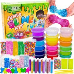 DIY Slime Kit for Girls Boys - Ultimate Glow in the Dark Glitter Slime Making Kit Arts Crafts - Slime Kits Supplies include Big Foam Beads Balls, 18 Mystery Box Containers filled Crystal Powder Slime Slime Craft, Diy Slime, Putty Toy, Slime Containers, Kit Diy, Slime Kit, Mystery Box, Fantasias Halloween, Glitter Slime