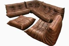 Brown Leather Togo Sofa Set by ...